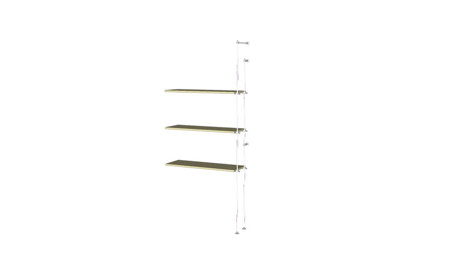 Tube Outrigger -3 Wood Shelves  Add-on Unit