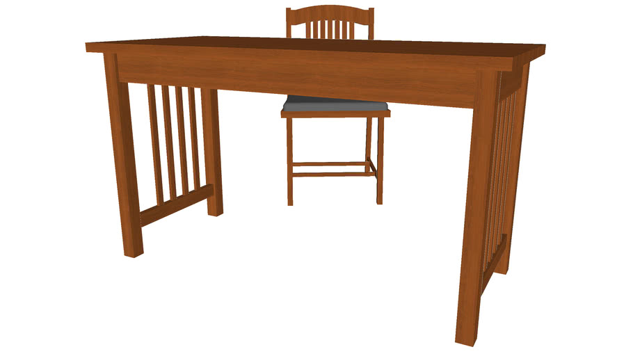 Writing Desk Set with Chair - Detailed