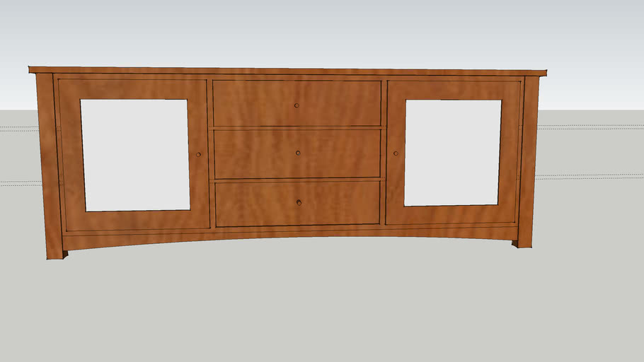 Media cabinet with amended sides