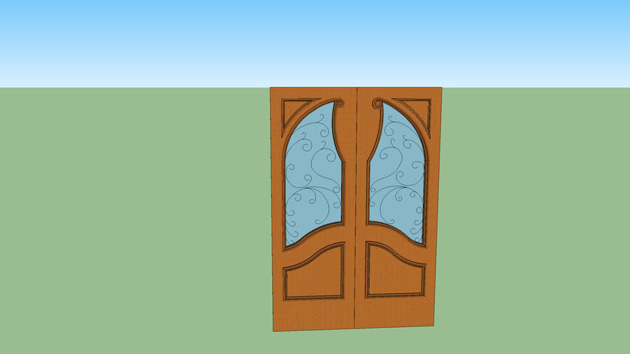 Double Entry Door with Unique Glasswork