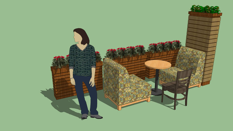 咖啡店隔断花槽