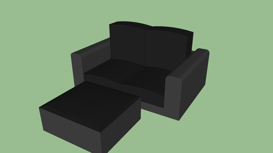 Black leather loveseat with ottoman