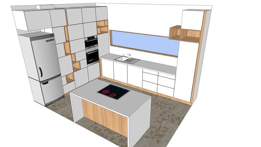 Modern White Oak Kitchen 3d Warehouse