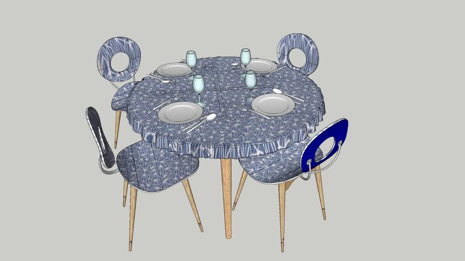 Table et chaises Design Frédéric TABARY
