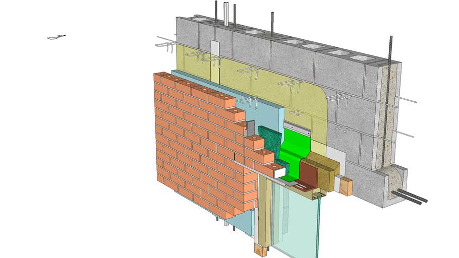 01.030.0602 Window Head | Anchored Brick Veneer, CMU Backing