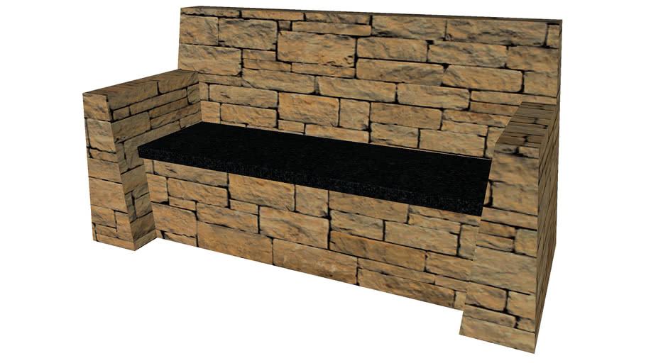 Rustic Stone Bench - Detailed