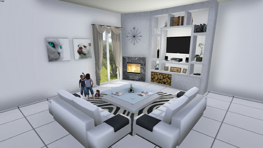 Modern Living Room Tv Set With Fireplace 3d Warehouse