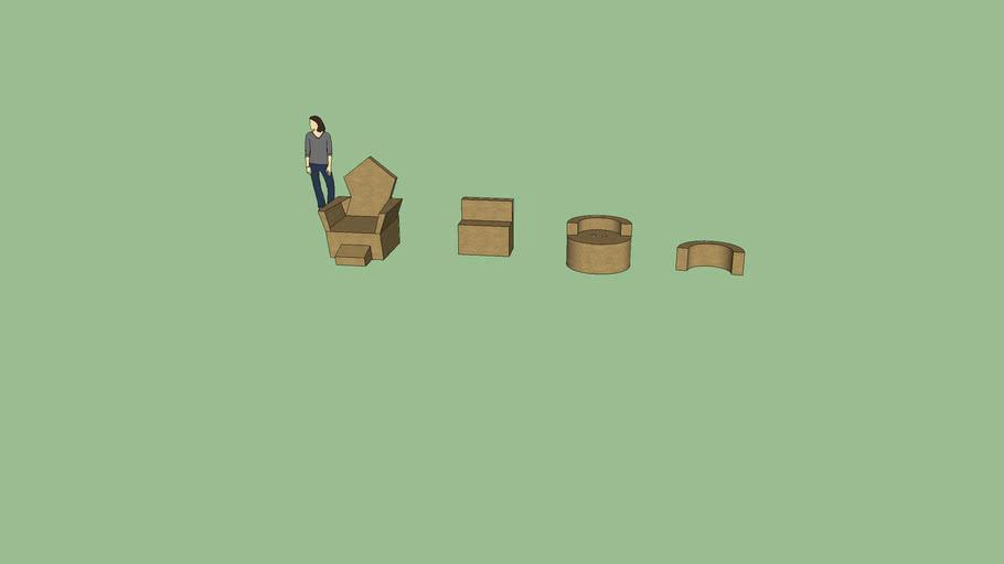 Collection of random cardboard chairs