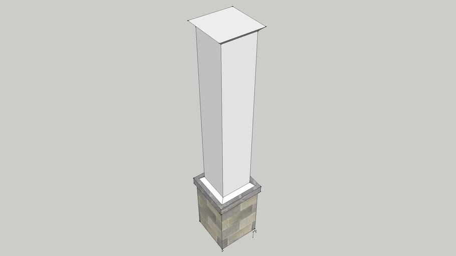 White Column on Stone Base