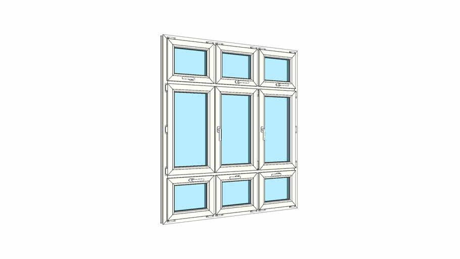 Окно штульповое трехстворчатое с тройной верхней и тройной нижней фрамугами VEKA Softline 82