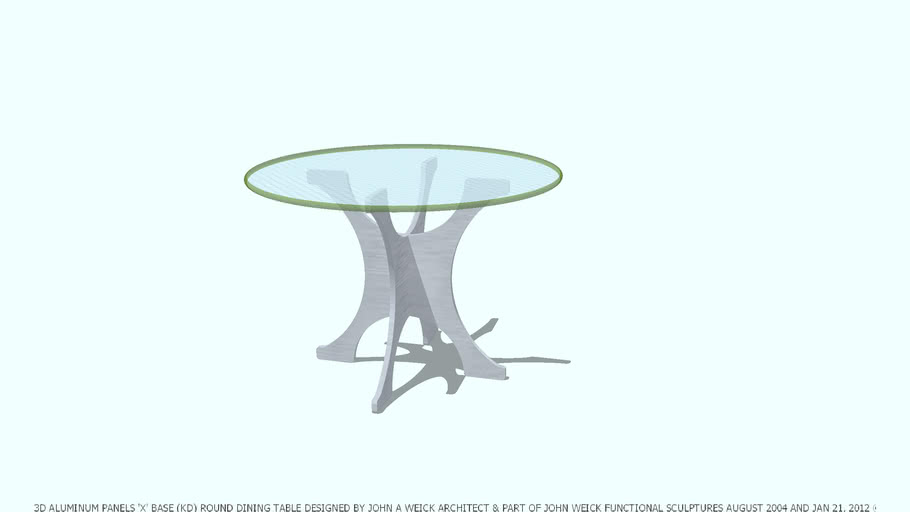 Dining Table Aluminum Kd Panels X Base 42 D Glass Top By John A