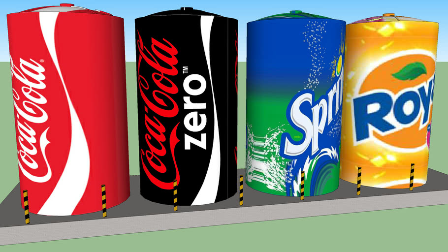 Water Tanks with coca-cola graphics