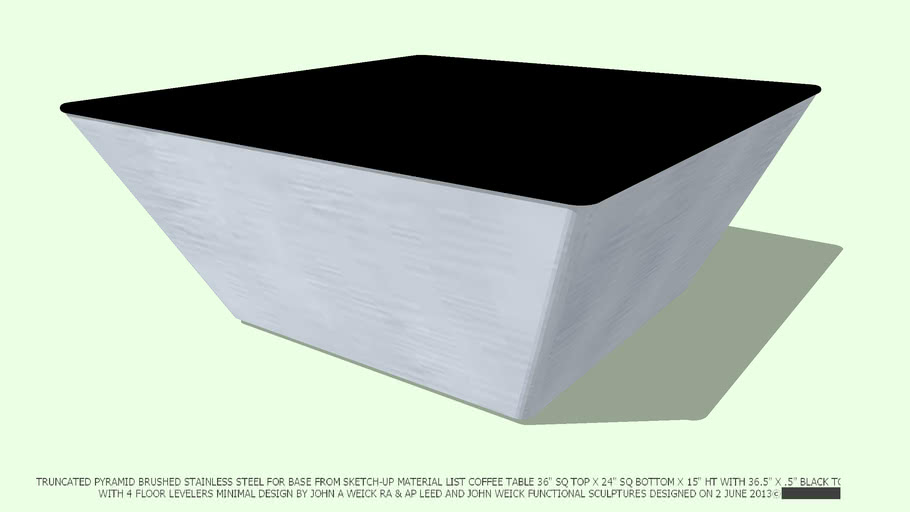TABLE COFFEE 36.5 SQ X 15.5 HT ST ST BASE BLACK TOP BY JOHN A WEICK RA