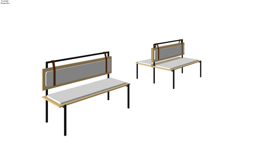 Upholstered Bench Booth With Leather Strap Detail 3d Warehouse