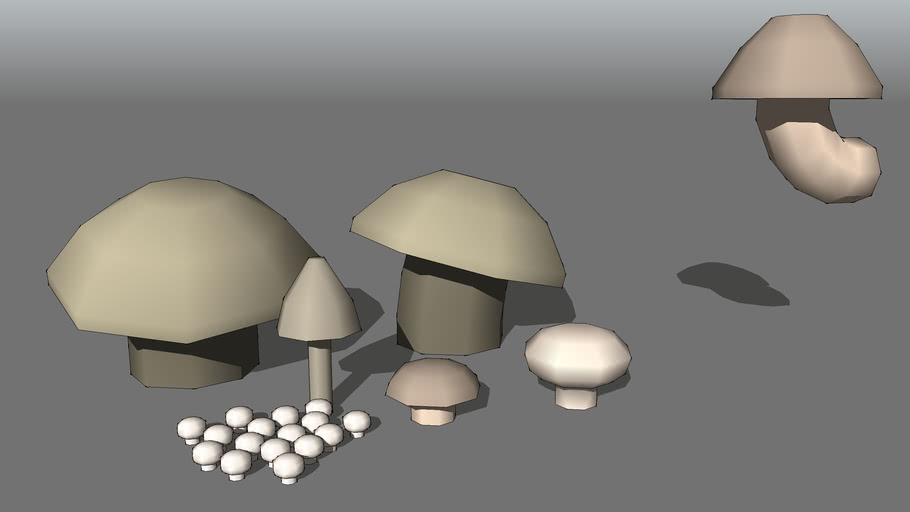 low-poly mushrooms