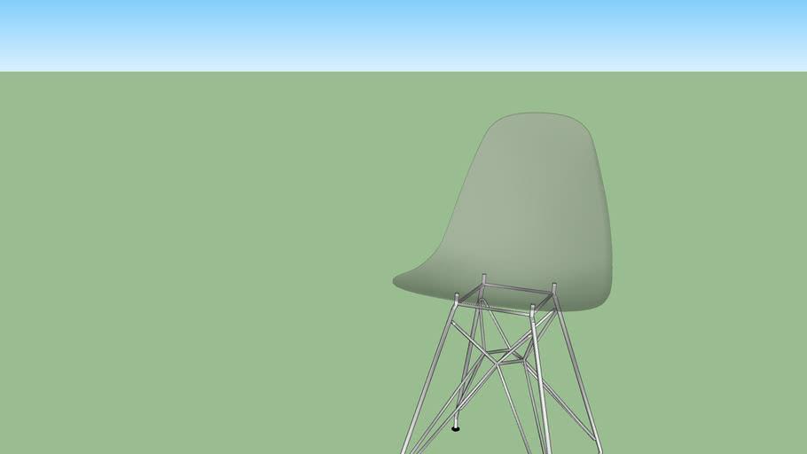 Cadeira transparente, pernas de metal