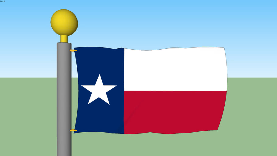 Texas State Flag with Flagpole