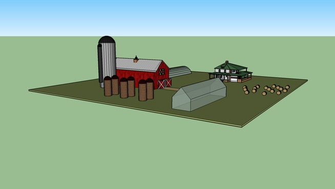 A Cool Barn and Farmhouse With Several Silos and Greenhouses