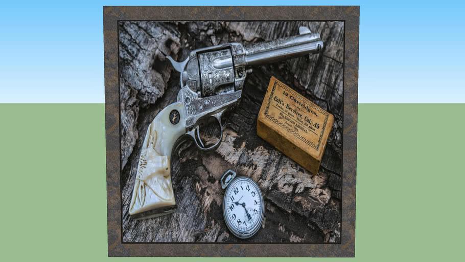 Quadro decorativo 1 guerra colt's revolver cal; .45