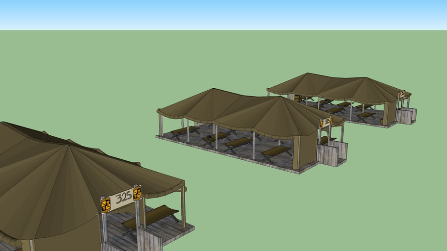 Multiple Army Barrics tents