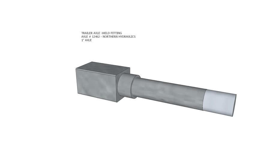 "Trailer axle stub, 1"" axle, weld type, Northern Hydraulics # 12462"