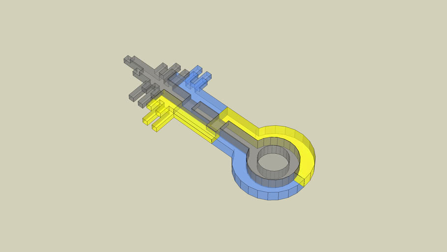 3 part interlocking key (translucent)