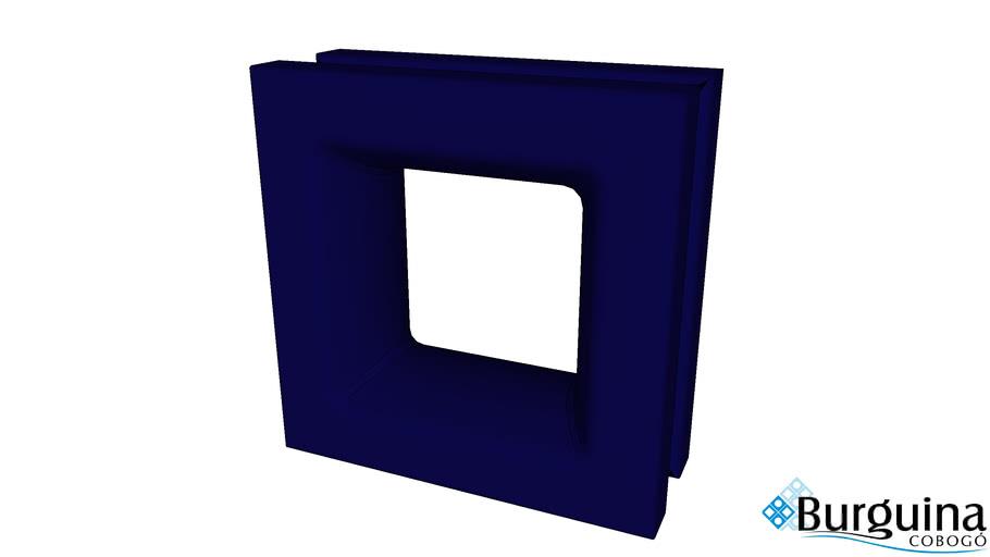Elemento Vazado Quadrado Azul Cerâmico Esmaltado 20X20X8 Cm