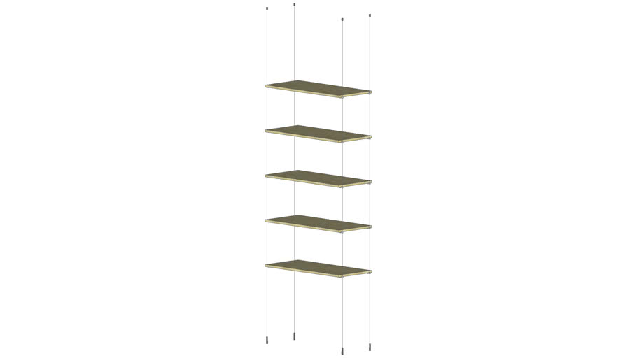 Cable Ceiling to Floor  5 Wood Shelves - Base Unit