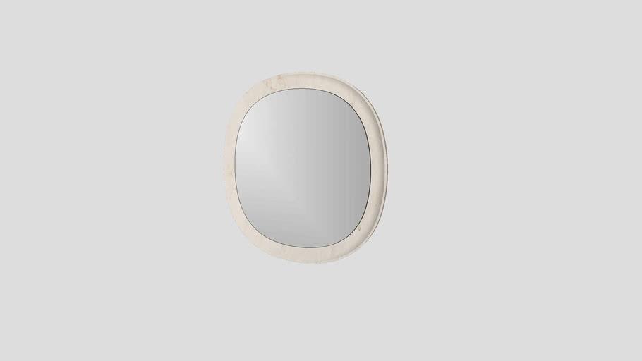 Circular mirror in Crema d'Orcia limestone | Salvatori | Anima Ø77,5 cm