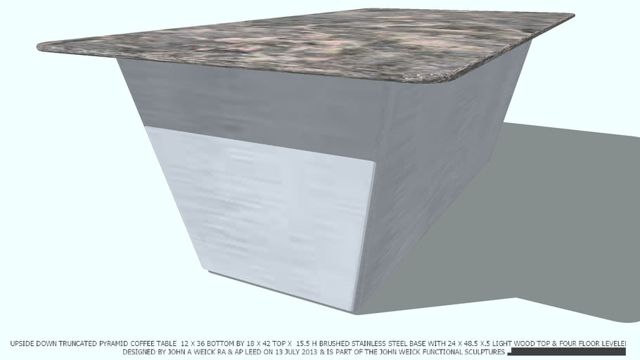 COFFEE TABLE ST ST TRUNCATED MARBLE 2X4 TOP DESIGNED BY JOHN A WEICK RA