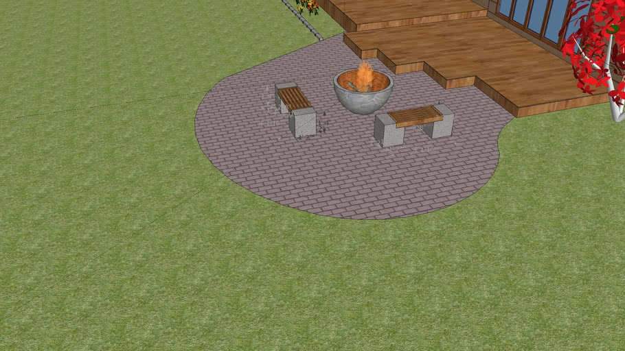 Patio with fire bowl and concrete benches