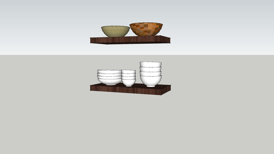 21 inch shelves with dishes