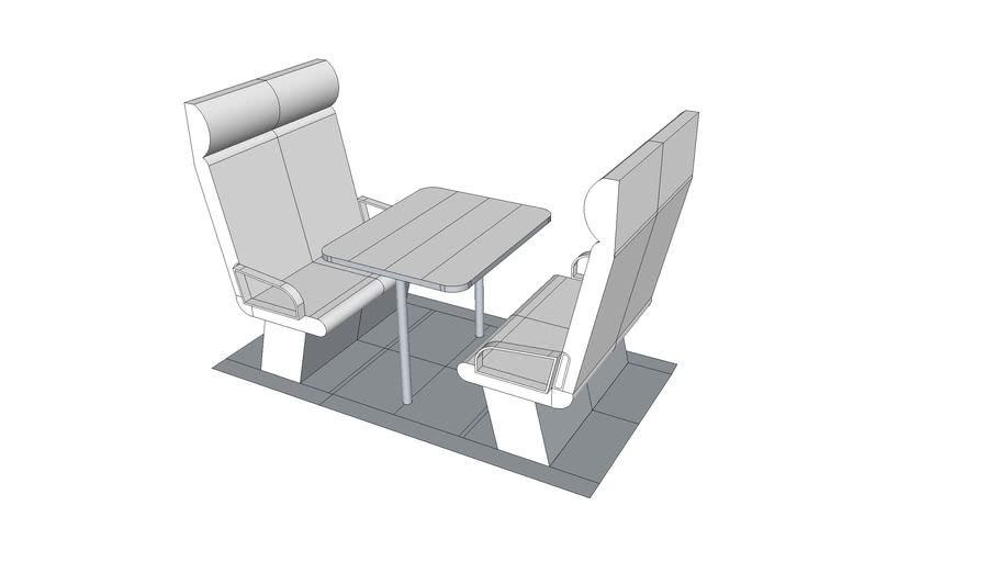 4 Seat Booth w 1M Table