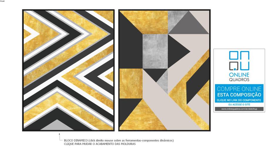 Composição de 02 Quadros Clássicos - Geométrico Dourado e Preto