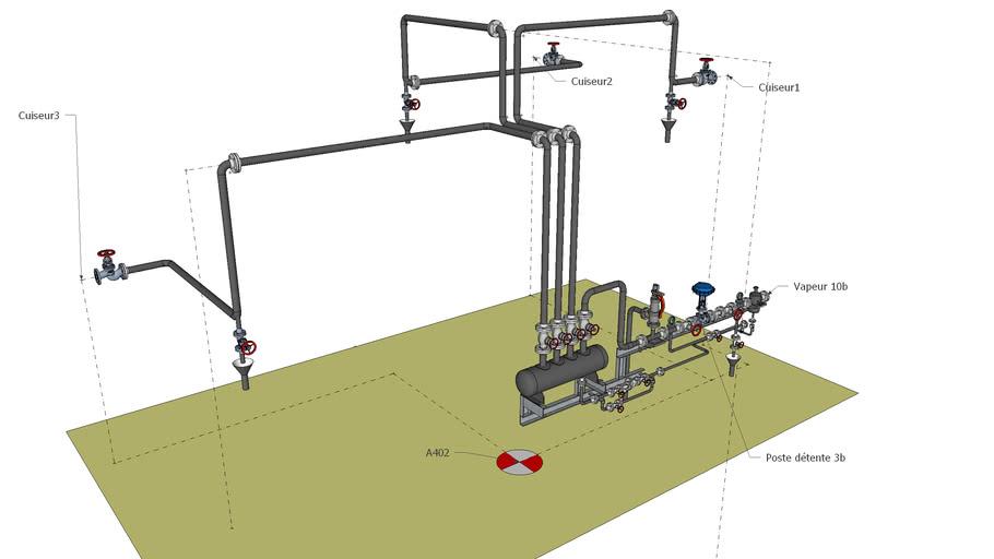 Poste de détente et distribution de vapeur