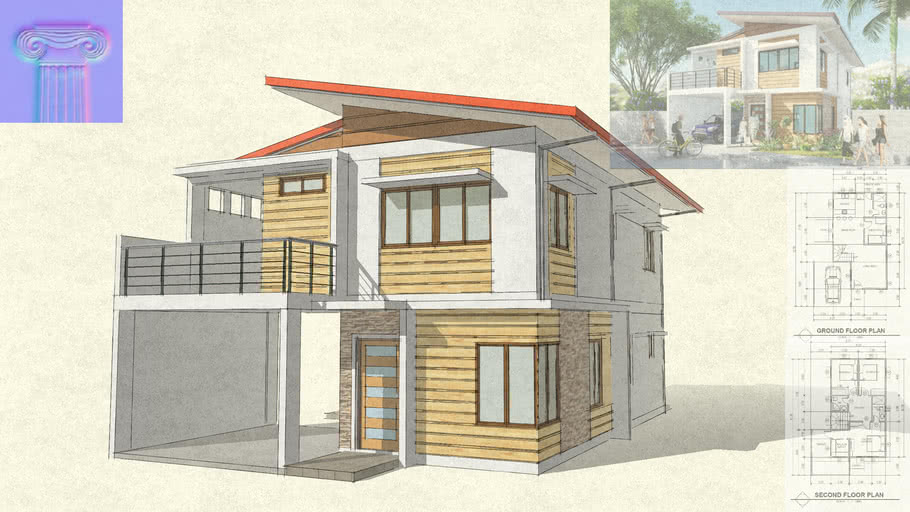 Modern Design 2 Story House 3d Warehouse