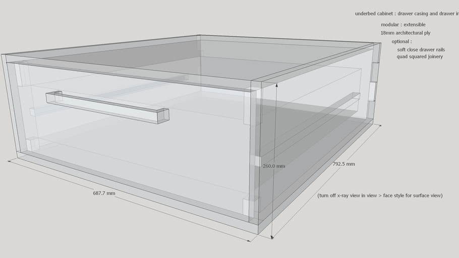 underbed cabinet with joinery and inset detailing