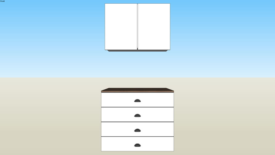 Four drawers and closet above for niche