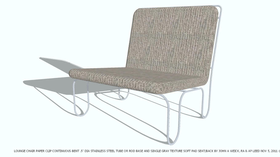 LOUNGE CHAIR PAPER CLIP GRAY TEXTURE DESIGNED BY JOHN A WEICK RA