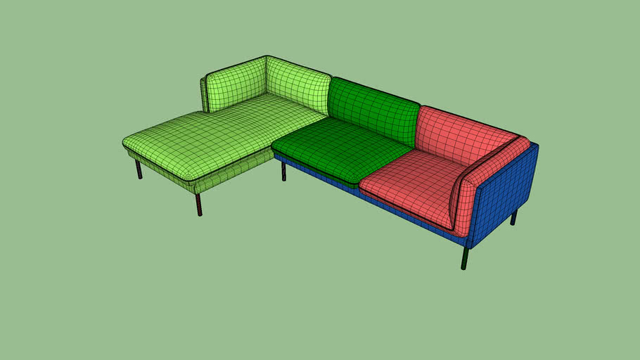 Paste 3 seater chaise lounge