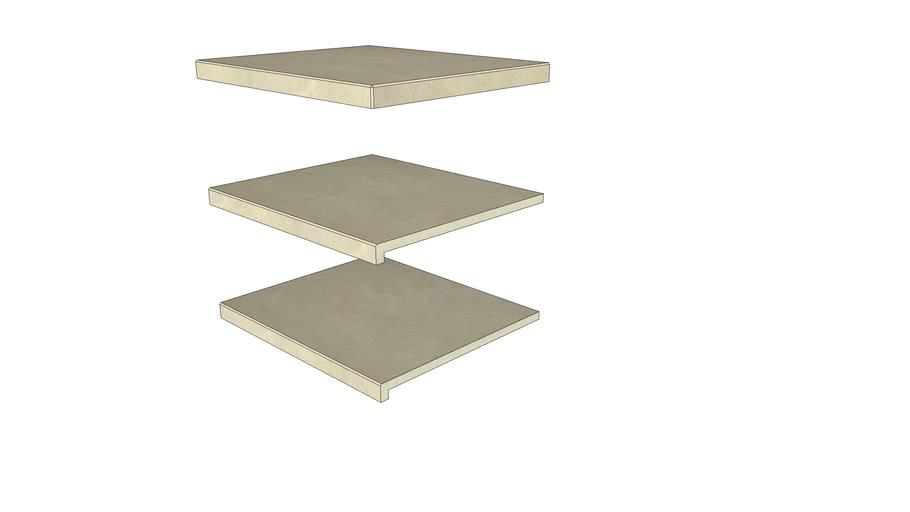 Slab Khaki Porcelain Step 596 × 500 with  40mm Downstand