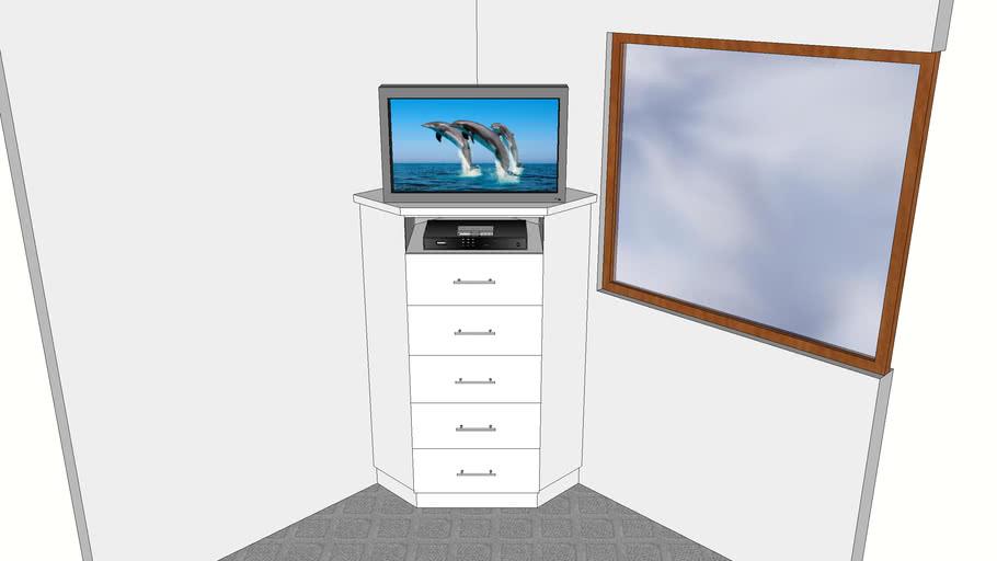 Corner Tv. Unit With Drawers_White PVC