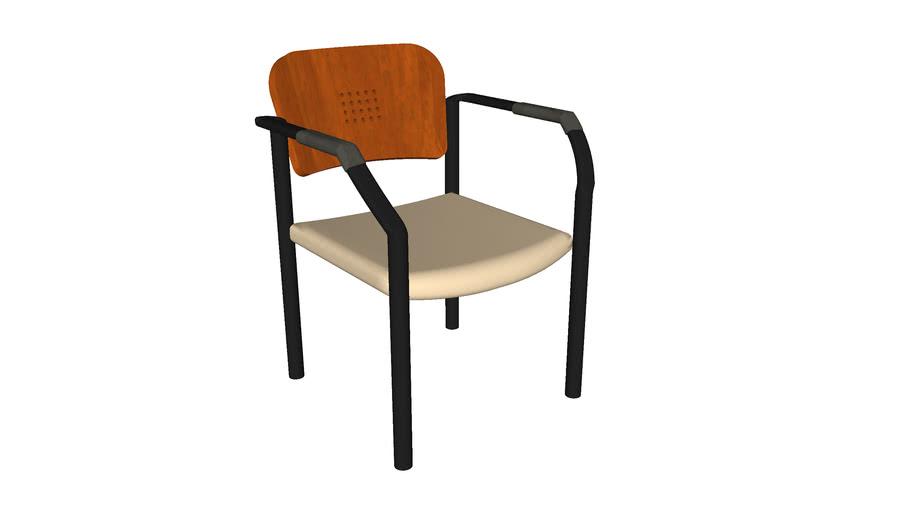 Stack Chair - Metal with Wood Back