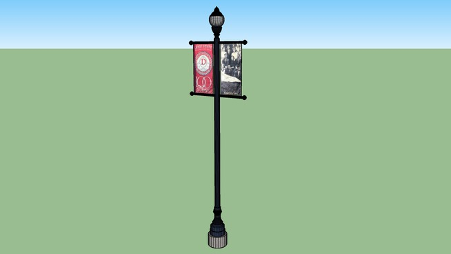 """A B3DB geomodel of the type """"A"""" lamp post03w/ 100 year anniversary banners."""
