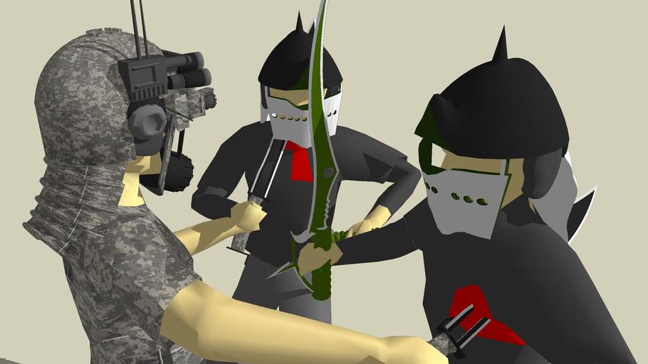 crusader fighting two enemy mercenaries