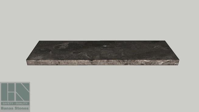 "Banas® Stones Premium Natural Wall Coping - 14"" x 48"" - Antique Black RF1"