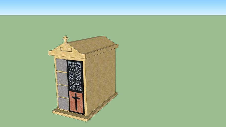 Caveau 4 places maçonné crépi avec porte fer forgé