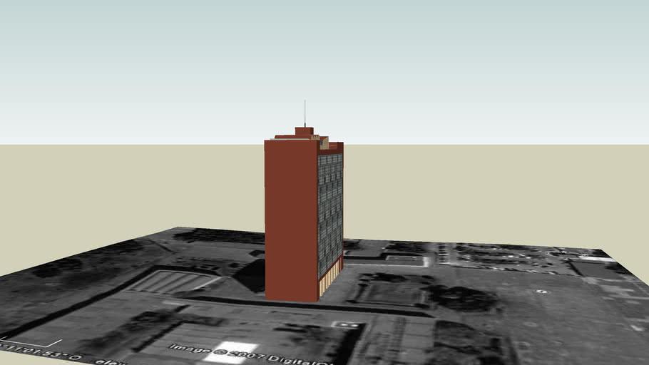 Torre Humanidades II (Parece que no tiene vidrio, pero en Google Earth si viene)
