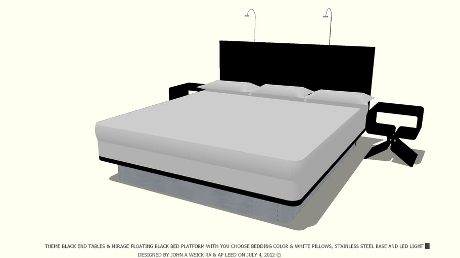 BED BLACK YOU CHOOSE BEDDING COLOR WHITE PILLOWS JOHN A WEICK RA