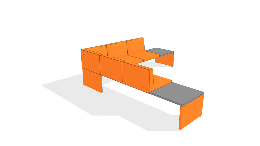 Clique Bench with Table, 7-Seater, Back w/Open Ends, Left Run-off, Upholstered Leg, End Tables